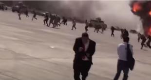 Yemen'de yeni hükümete havaalanında saldırı anı (VİDEO)