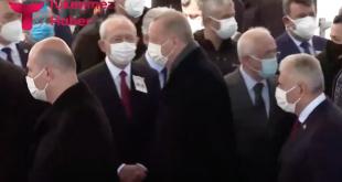 Cumhurbaşkanı Erdoğan, cenazede Kılıçdaroğlu'na selam vermedi (VİDEO)
